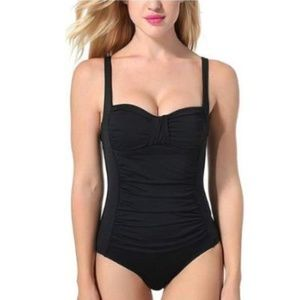 Black Retro Super Slimming One-Piece Swimsuit